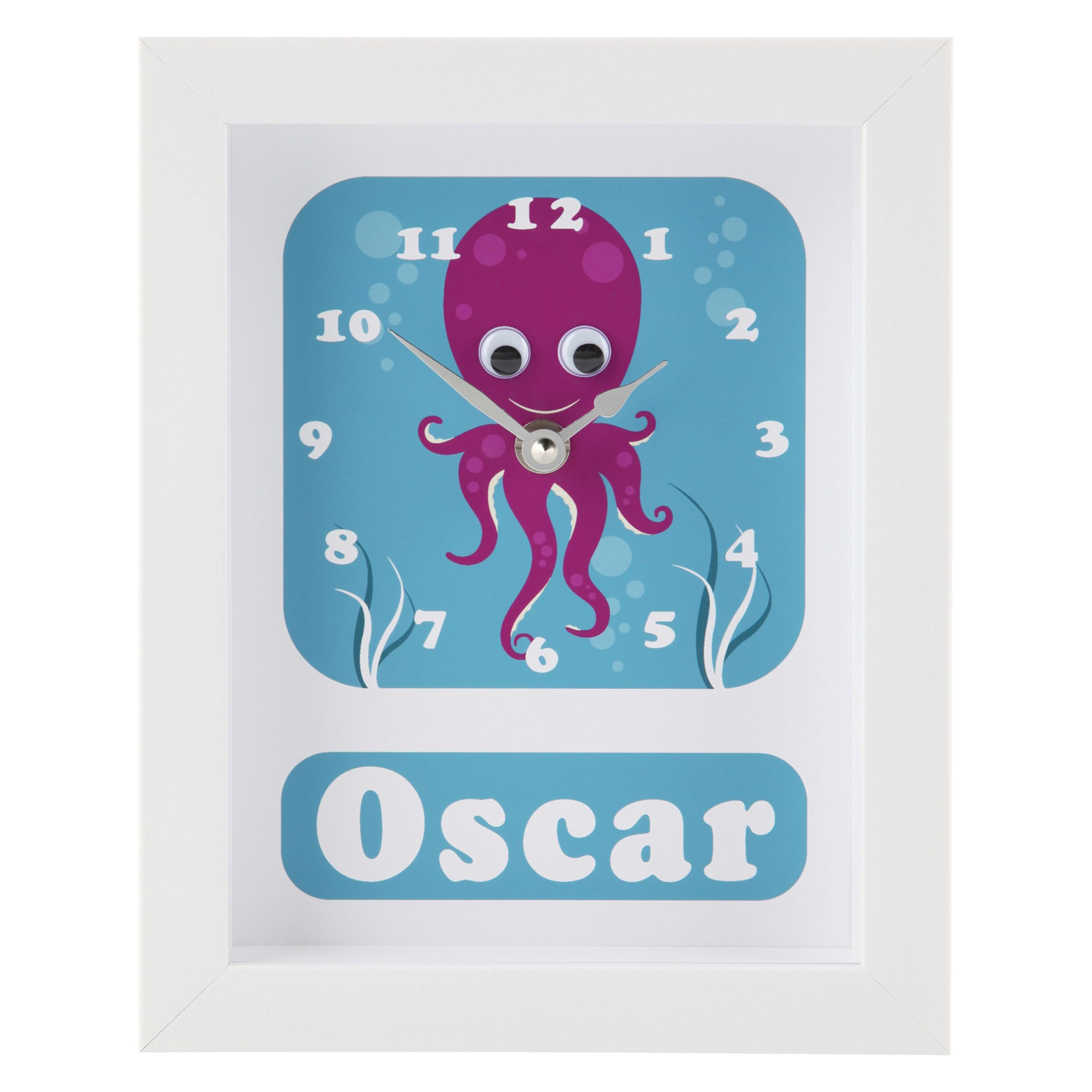 Stripey Cats Stripey Cats Personalised Oscar Octopus Framed Clock, 23 x 18cm