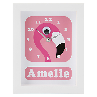 Image of Stripey Cats Personalised Flamingo Pink Framed Clock, 23 x 18cm