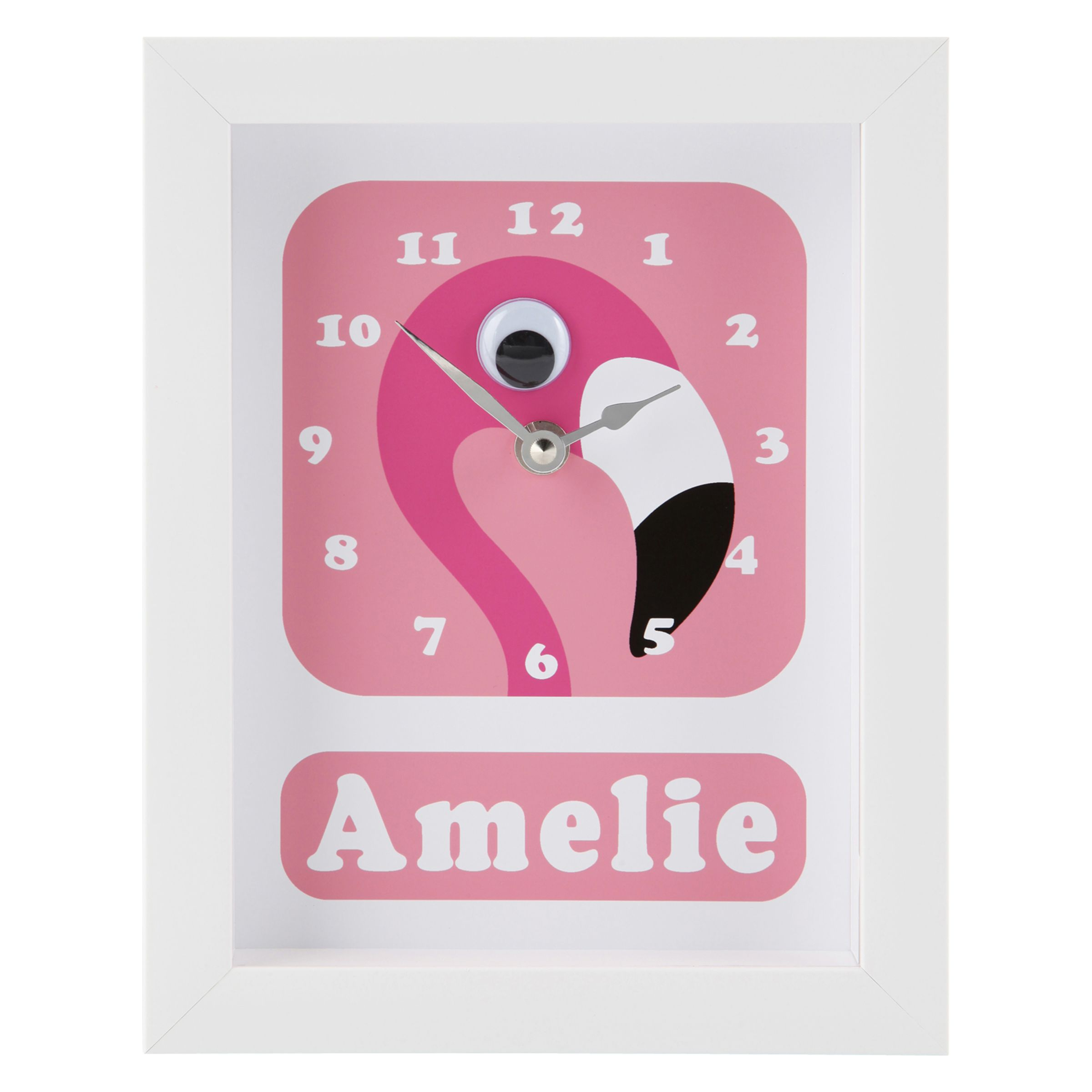 Stripey Cats Stripey Cats Personalised Flamingo Pink Framed Clock, 23 x 18cm
