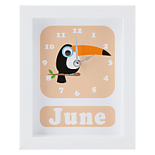 Buy Stripey Cats Personalised Tilly Toucan Framed Clock, 23 x 18cm Online at johnlewis.com