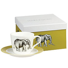 Buy Harlequin Elephant Teacup & Saucer, White / Green Online at johnlewis.com