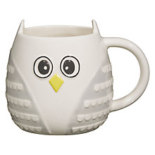 Buy John Lewis 3D Owl Mug, Grey / White Online at johnlewis.com
