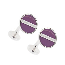 Buy BOSS Norberto Round Cufflinks, Purple Online at johnlewis.com