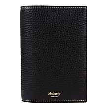 Buy Mulberry Natural Grain Leather Passport Cover, Black Online at johnlewis.com