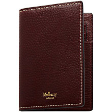 Buy Mulberry Natural Grain Leather Card Wallet, Oxblood Online at johnlewis.com