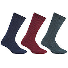 Buy Kin by John Lewis Solid Stripe Socks, One Size, Pack of 3, Navy/Burgundy/Green Online at johnlewis.com