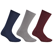 Buy Kin by John Lewis Mercerised Socks, One Size, Pack of 3, Navy/Grey/Burgundy Online at johnlewis.com
