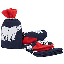 Buy John Lewis Polar Bear Socks in a Bag, One Size, Navy/White Online at johnlewis.com