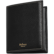 Buy Mulberry Natural Grain Leather Trifold Wallet, Black Online at johnlewis.com