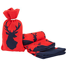 Buy John Lewis Stag Socks in a Bag, One Size, Red/Navy Online at johnlewis.com