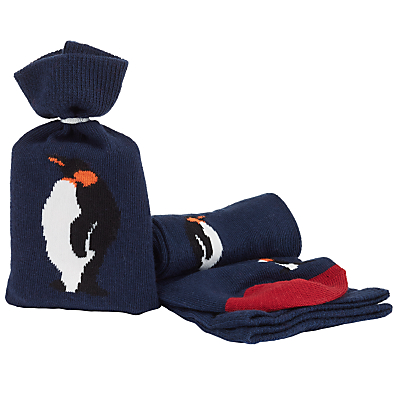 John Lewis Penguin Socks in a Bag, One Size, Navy