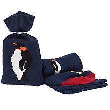 Buy John Lewis Penguin Socks in a Bag, One Size, Navy Online at johnlewis.com