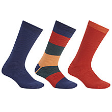 Buy Kin by John Lewis Solid Stripe Socks, One Size, Pack of 3, Multi Online at johnlewis.com