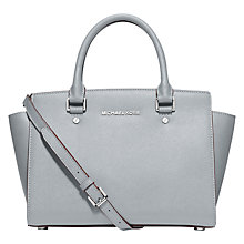 Buy MICHAEL Michael Kors Selma Leather Medium Satchel, Dusty Blue Online at johnlewis.com