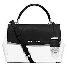 Buy MICHAEL Michael Kors Ava Small Leather Satchel, Black / White Online at johnlewis.com