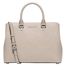 Buy MICHAEL Michael Kors Savannah Leather Satchel, Cement Online at johnlewis.com