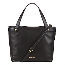 Buy MICHAEL Michael Kors Hyland Leather Medium Convertible Tote Bag, Black Online at johnlewis.com