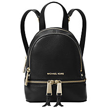 Buy MICHAEL Michael Kors Rhea Extra Small Leather Backpack, Black Online at johnlewis.com
