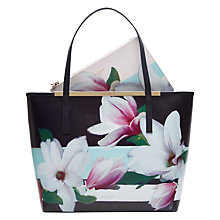 Buy Ted Baker Carmel Magnolia Leather Shopper Bag, Navy Online at johnlewis.com