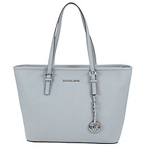 Buy MICHAEL Michael Kors Jet Set Travel Top Zip Leather Tote Bag, Dusty Blue Online at johnlewis.com