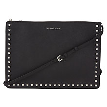Buy MICHAEL Michael Kors Ava Studded Large Convertible Leather Clutch, Black Online at johnlewis.com