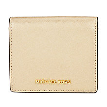 Buy MICHAEL Michael Kors Jet Set Travel Leather Card Holder, Pale Gold Online at johnlewis.com