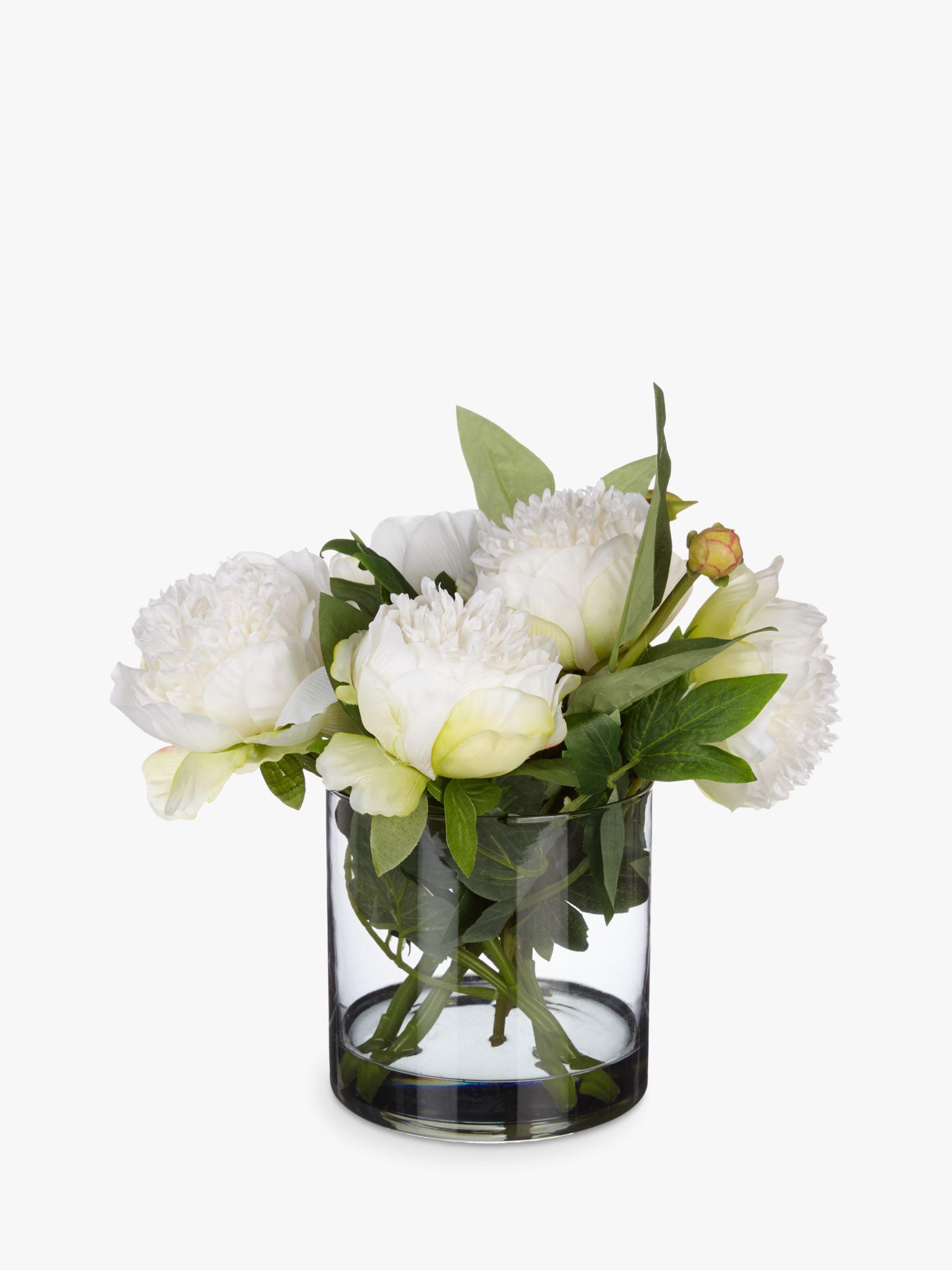 Peony Peony Peonies in Black Glass Cylinder Vase, White