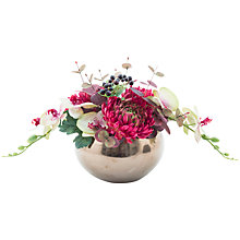 Buy Peony Chrysanethemum & Orchid Bronze Pot, Burgundy Online at johnlewis.com