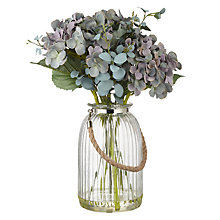 Buy Peony Hydrangea and Eucalyptus in Grey Lantern Vase Online at johnlewis.com