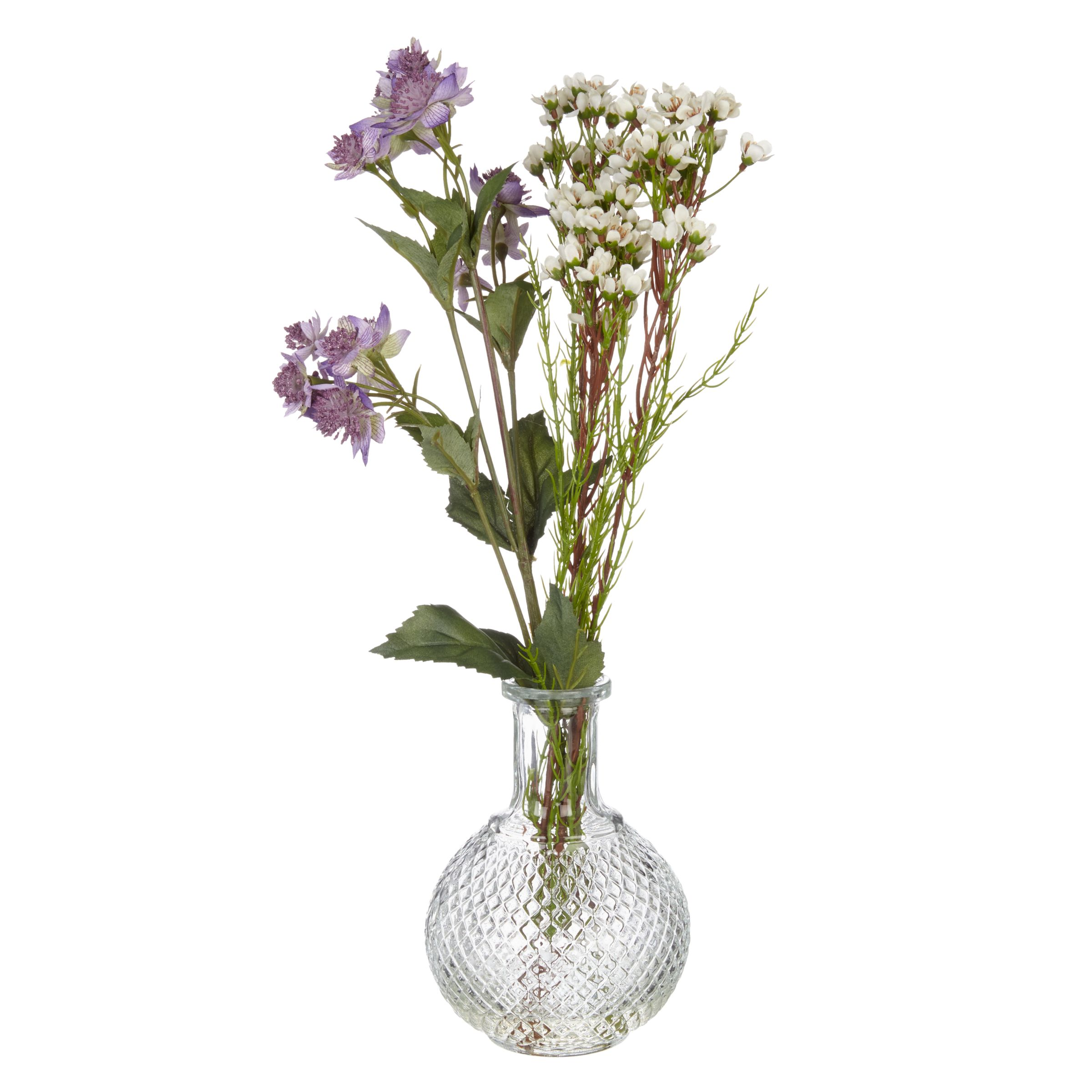 Peony Peony Astrantia and Wax Flower Bottle, Purple