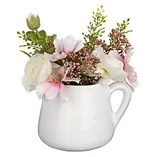 Buy Peony Cosmos and Ranuncula in Short Jug, Cream Online at johnlewis.com