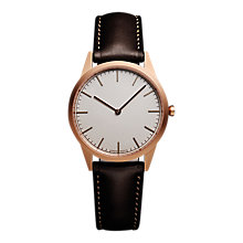 Buy Uniform Wares C35SRG01NAPBRO1816R01 Men's C35 Leather Strap Watch, Dark Brown/Grey Online at johnlewis.com