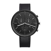 Buy Uniform Wares M42SKK01CORBLK1818R01 Men's M42 Chronograph Date Leather Strap Watch, Black Online at johnlewis.com