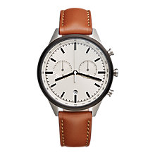 Buy Uniform Wares C41SGR01NAPTAN1816R01 Men's C41 Chronograph Date Leather Strap Watch, Tan/Grey Online at johnlewis.com