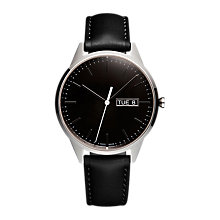 Buy Uniform Wares C40PSI01NAPBLK1818R01 Men's C40 Day Date Leather Strap Watch, Black Online at johnlewis.com