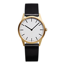 Buy Uniform Wares C35SGO01CORBLK1816R01 Men's C35 Leather Strap Watch, Black/White Online at johnlewis.com