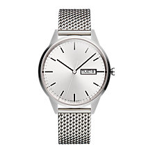 Buy Uniform Wares C40BSI01MILBSI1818R01 Men's C40 Day Date Bracelet Strap Watch, Silver Online at johnlewis.com