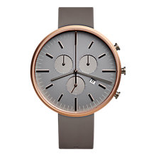 Buy Uniform Wares M42SRG01NITGRY1818R01 Men's M42 Rose Gold Plated Chronograph Date Rubber Strap Watch, Grey Online at johnlewis.com