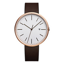 Buy Uniform Wares M40SRG01NAPBRO1818R01 Men's M40 Date Rose Gold Plated Leather Strap Watch, Brown/White Online at johnlewis.com