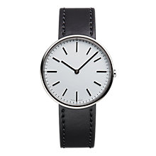 Buy Uniform Wares M37PSI01CORBLK1818R01 Men's M37 Leather Strap Watch, Black/Grey Online at johnlewis.com