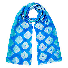 Buy East Bandhini Silk Scarf, Blue Online at johnlewis.com