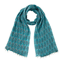 Buy East Anokhi Booti Floral Print Scarf, Blue Online at johnlewis.com