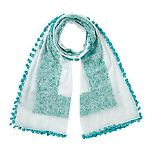 Buy East Pom Pom Scarf, Green/Multi Online at johnlewis.com