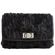 Buy John Lewis Faux Fur Mini Clutch Bag, Black Online at johnlewis.com