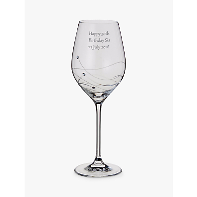Dartington Crystal Personalised Glitz Wine Glass (Single), Gabriola Font
