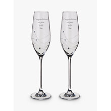 Buy Dartington Crystal Personalised Glitz Flute, Set of 2, Gabriola Font Online at johnlewis.com