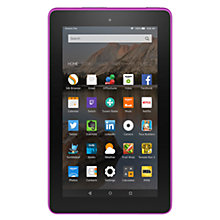 "Buy New Amazon Fire 7 Tablet, Quad-core, Fire OS, 7"", Wi-Fi, 8GB, Magenta and Microsoft Office 365 Home Premium Online at johnlewis.com"