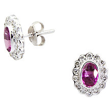 Buy Turner & Leveridge 2000s 18ct White Gold Sapphire and Diamond Stud Earrings, Pink Online at johnlewis.com