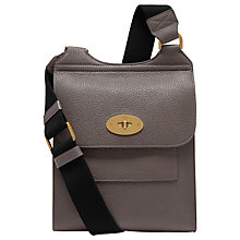 Buy Mulberry Antony Leather Across Body Satchel, Dark Grey Online at johnlewis.com