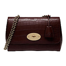 Buy Mulberry Lily Deep Embossed Croc Print Medium Shoulder Bag, Oxblood Online at johnlewis.com